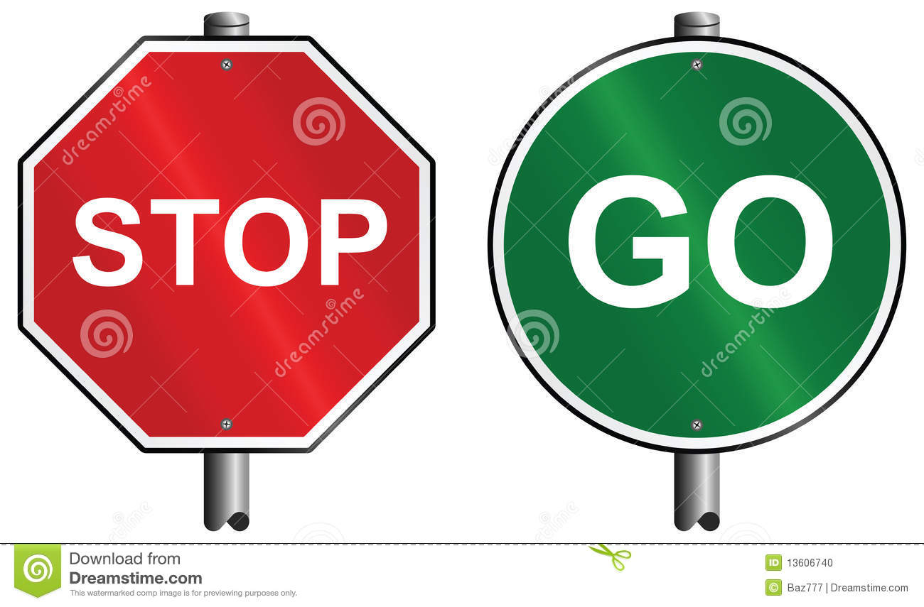 Stop And Go Signs.