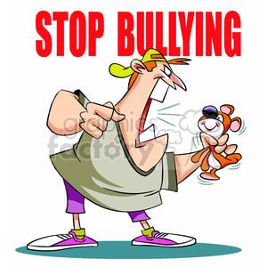 stop bullying man yelling at stuffed animal clipart. Royalty.