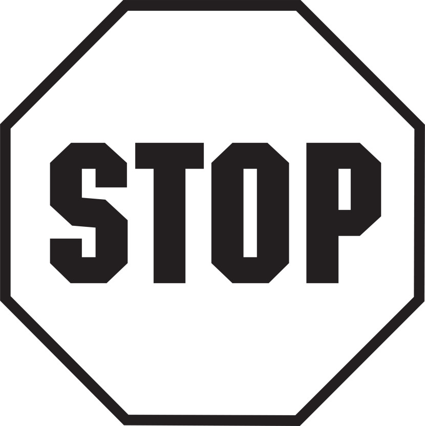 Stop sign black and white clip art.