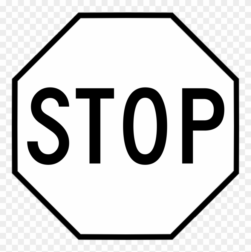 Picture Black And White Stock Stop Sign Clipart Black.