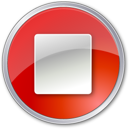Red, stop icon.