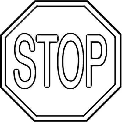 Stop Sign Black And White.