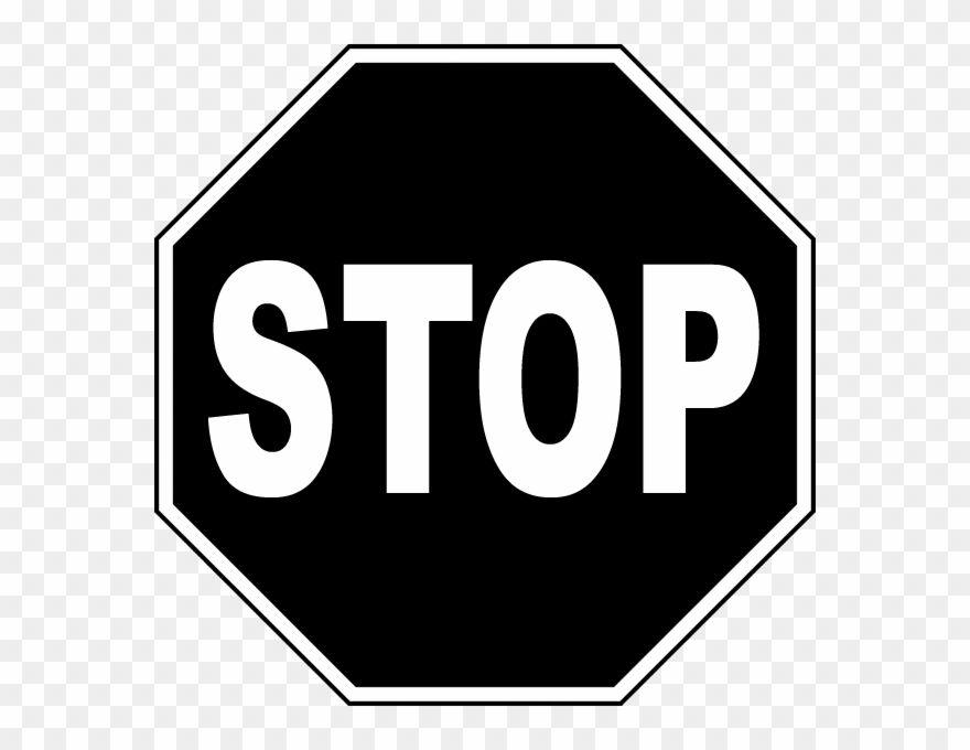 Pin Stop Sign Black And White Clipart.