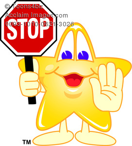Clipart Cartoon Star Holding Up a Hand and a Stop Sign.