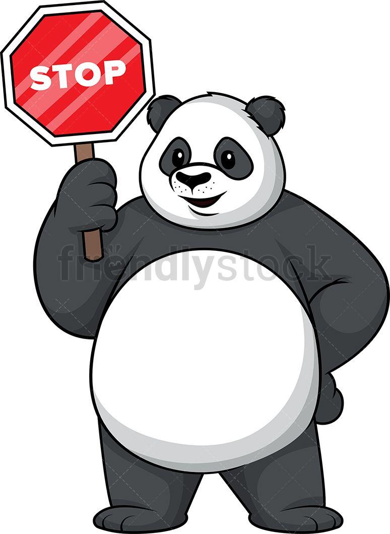 Panda Holding Stop Sign.