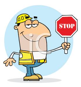 A Colorful Cartoon of a Construction Worker Holding a Stop.