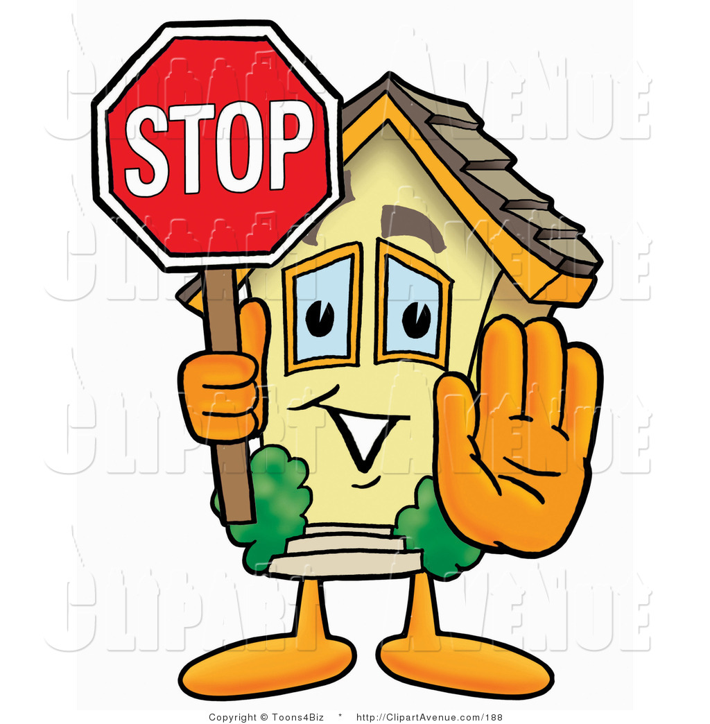 Avenue Clipart of a Home Mascot Cartoon Character Holding a.