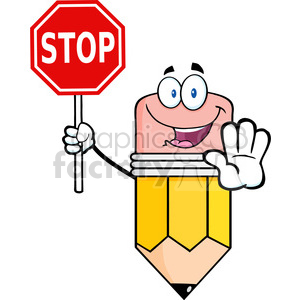 5896 Royalty Free Clip Art Happy Pencil Character Holding A Stop Sign  clipart. Royalty.