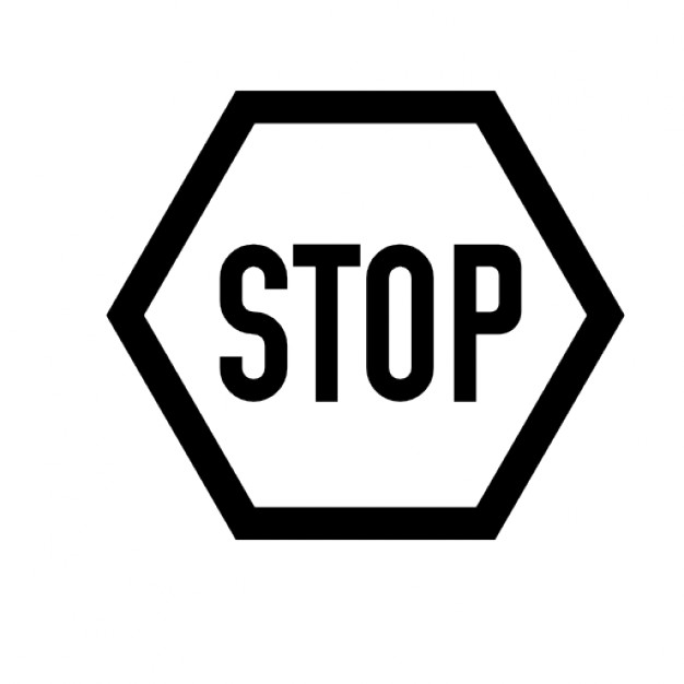 Black and white stop sign Icons.