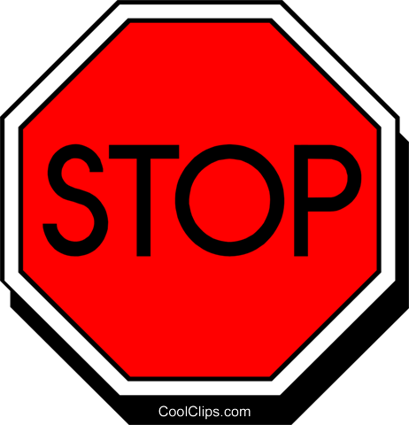 Symbol of a stop sign Royalty Free Vector Clip Art.