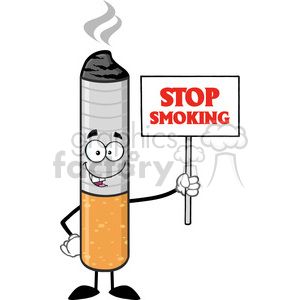 royalty free rf clipart illustration cigarette cartoon mascot character  holding a sign with text stop smoking vector illustration isolated on white.