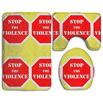 Amazon.com: Bath Mat Three Sets Stop Violence Clipart Luxury.