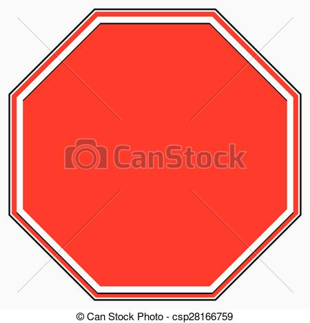 Clipart Vector of Blank stop sign. Blank red octagonal prohibition.