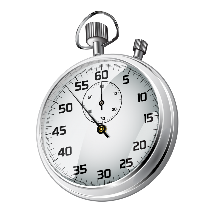 Realistic stopwatch timer on transparent background png.