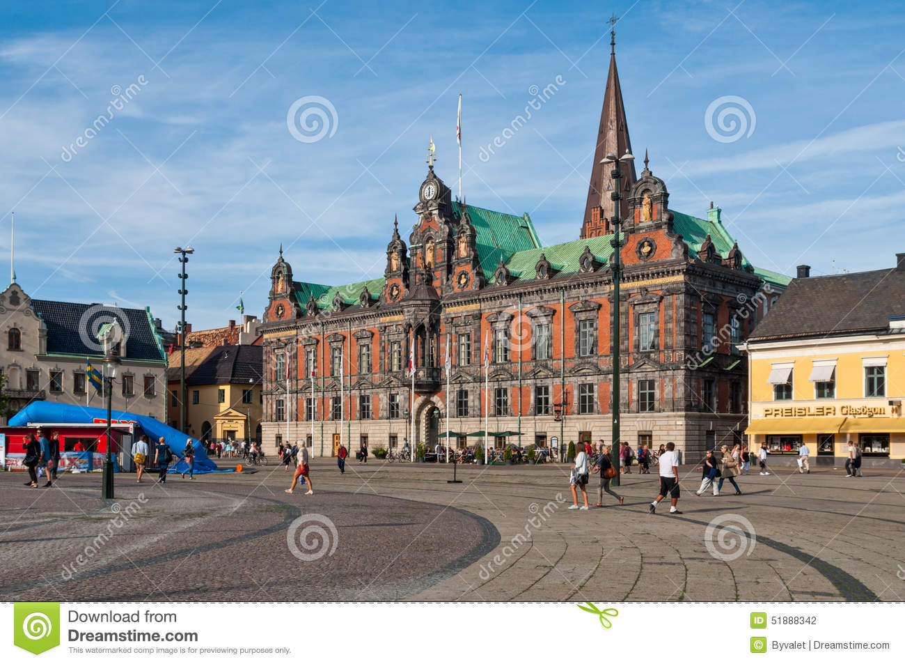 Malmo City Hall On Stortorget Square, Sweden Editorial Photography.