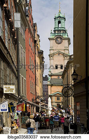 """Picture of """"Trangatan, views of Stortorget and Storyrkan, historic."""