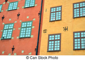 Stock Photo of Colorful buildings in Gamla Stan, Stockholm.