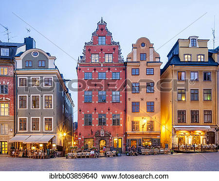 """Stock Photography of """"Town houses in Stortorget square, historic."""