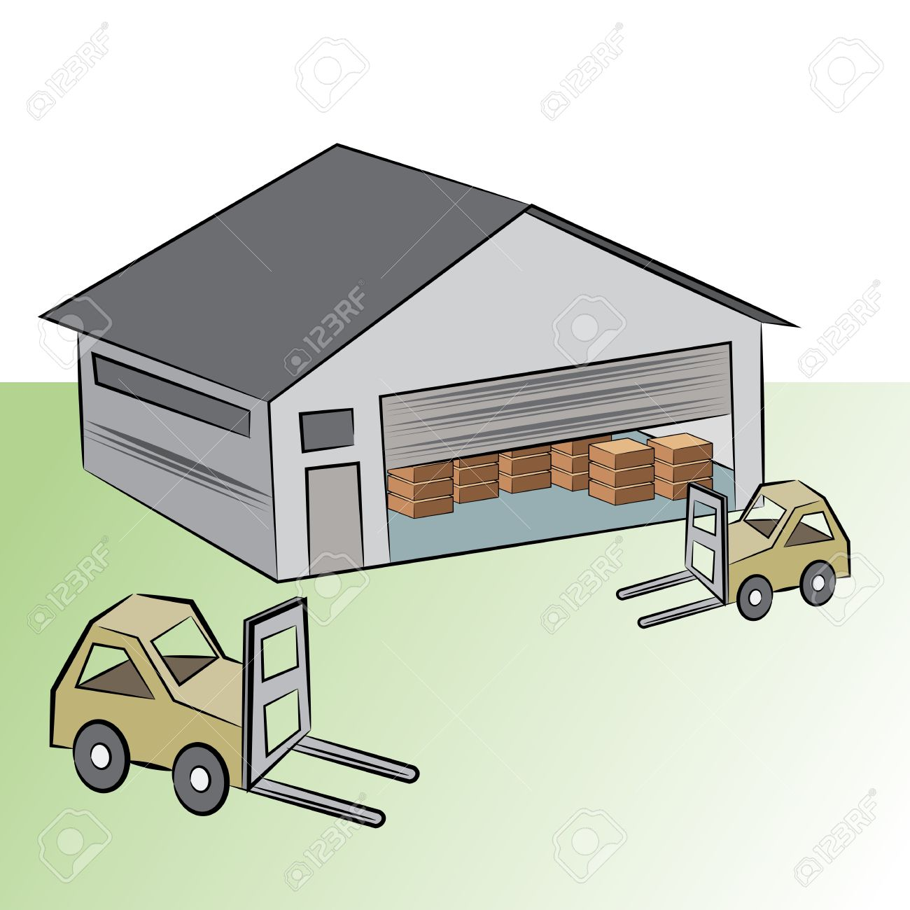 An Image Of A Warehouse Building With Crate Lifting Vehicles.