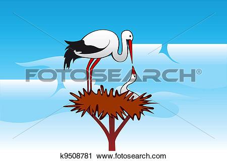 Clipart of Storks in the nest k9508781.