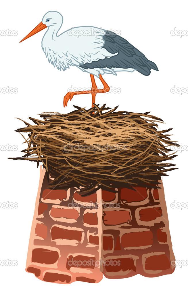 Storch und nest — Stockvektor © Lukaves #10166882.