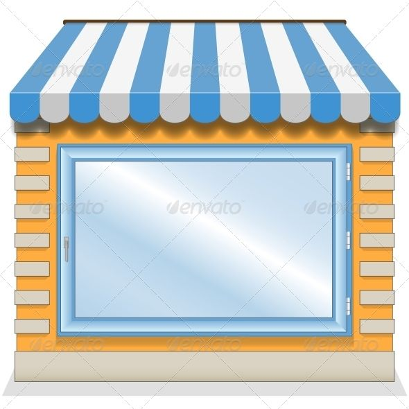 Shop Icon with Blue Awnings.
