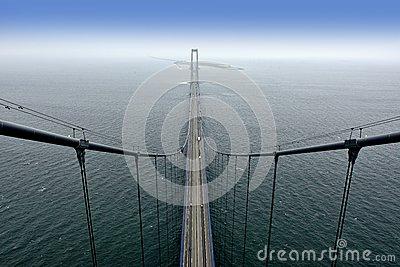 View From The Top Of The Big Belt Bridge/Storebæltsbroen Stock.