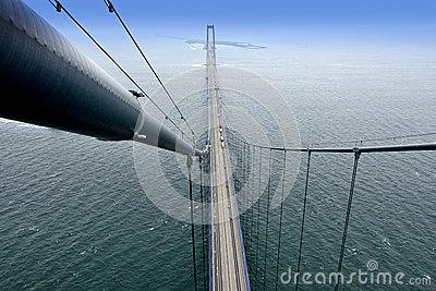 View From The Top Of The Big Belt Bridge/Storebaeltsbro Stock.