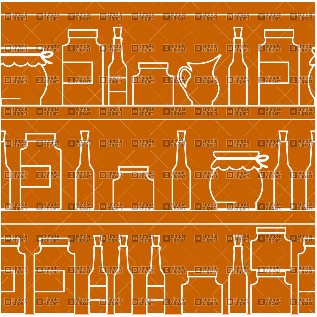 Home canning of vegetables stored on shelves Vector Image #1321.