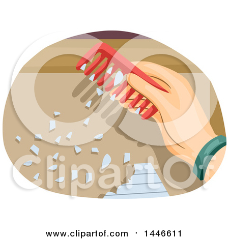 Clipart of a Hand Using a Comb with Stored Static to Attract.