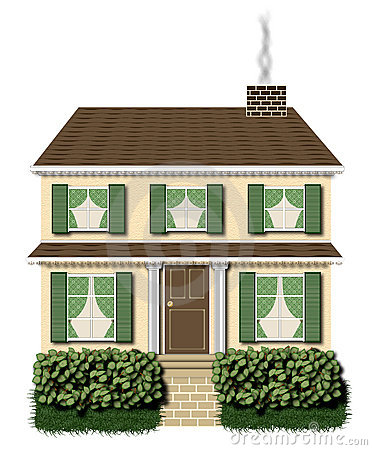 Clipart of 2 story house.