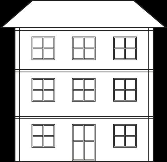 Clipart black white 2 story house logo.