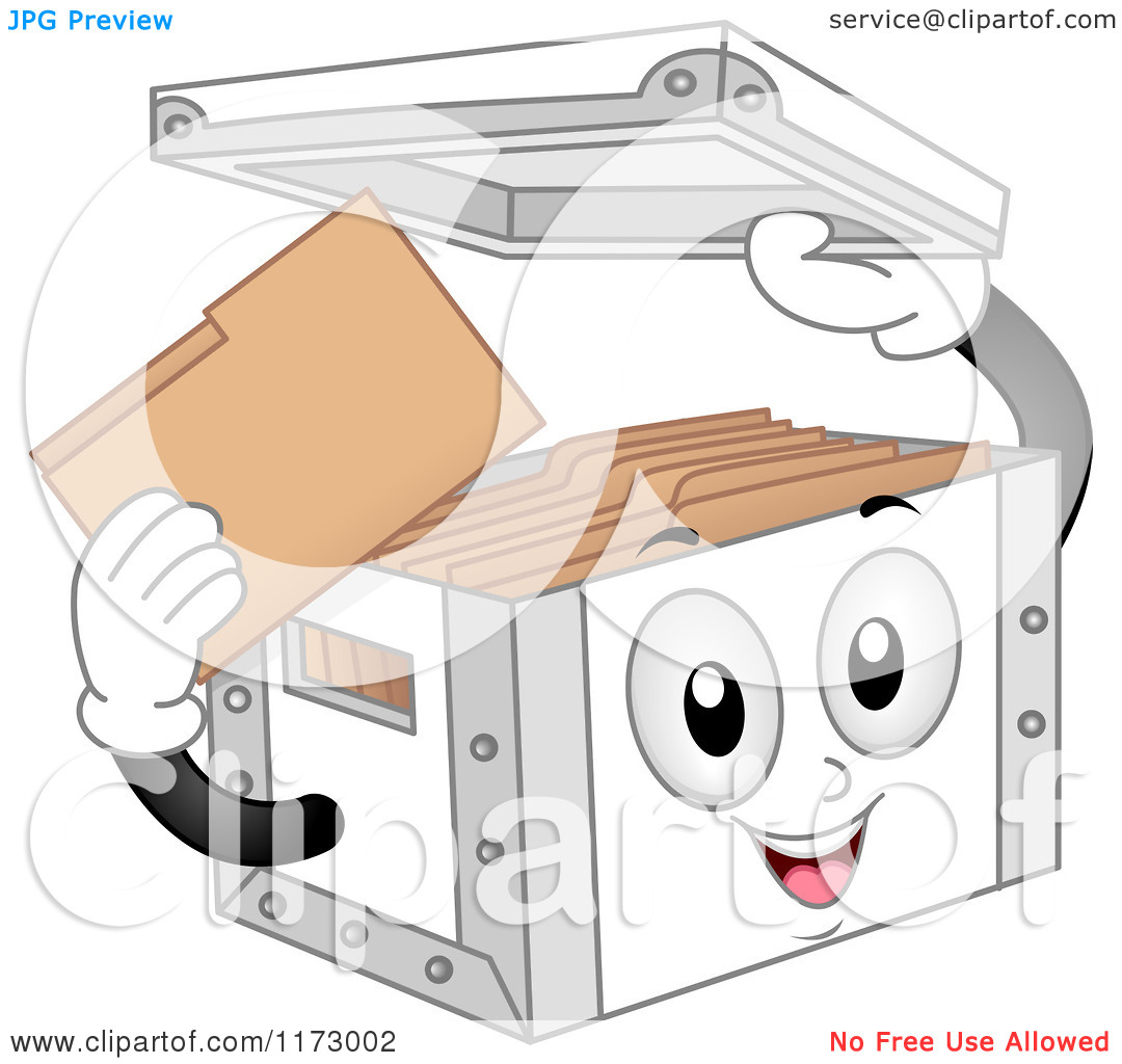 Cartoon of a Storage Box Mascot Holding Its Lid.