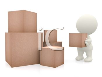 Royalty Free Clipart Image: Worker Moving Storage or Shipping Boxes.