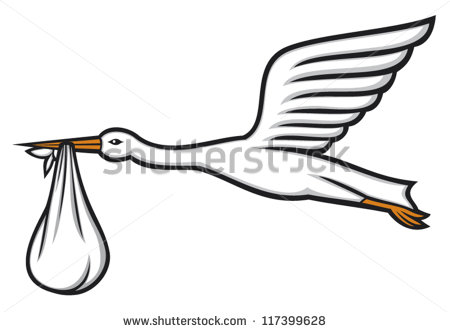 Stork Carrying Baby Stock Images, Royalty.