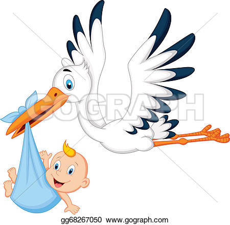 Stork Carrying Baby Clip Art.