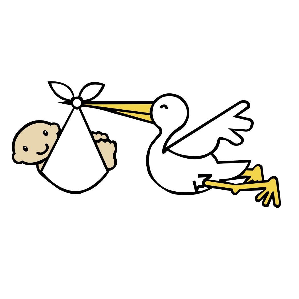 Free clipart stork carrying baby.