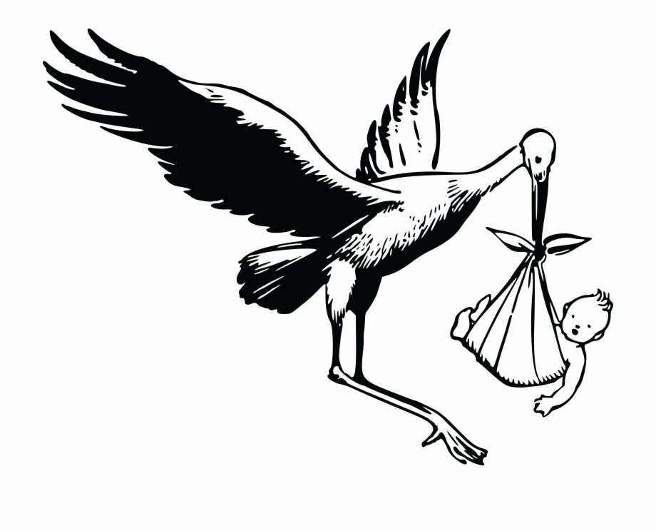 Free Clipart Of A Stork And Baby Stork.