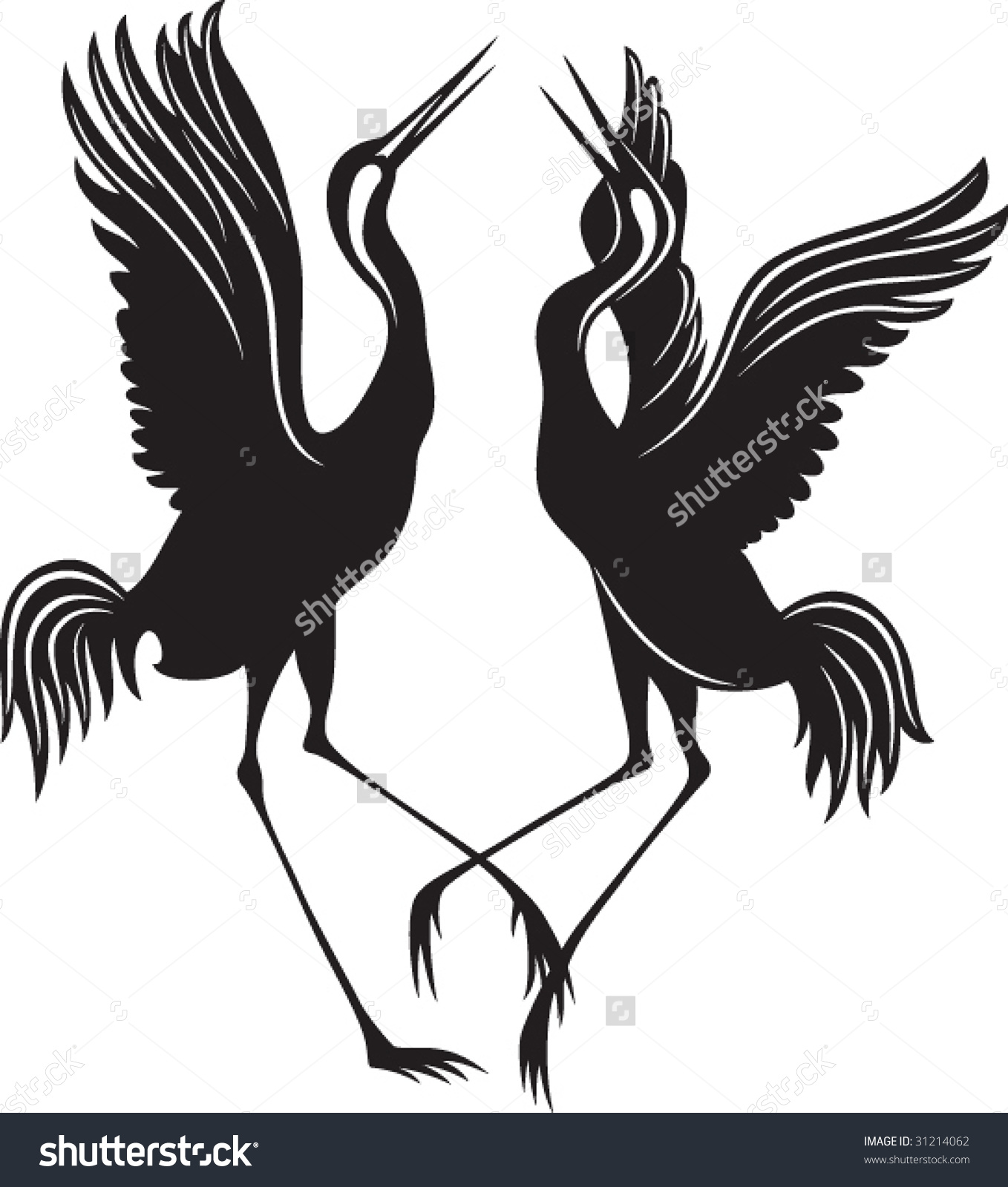 Stork couple clipart #3