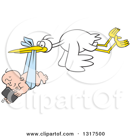 Stork couple clipart #8