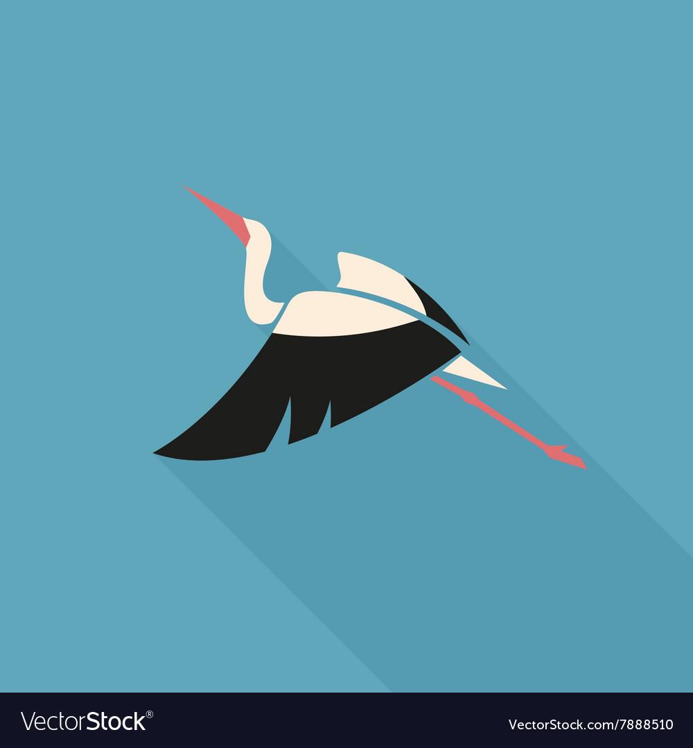 Stork logo sign emblem flat on blue background.
