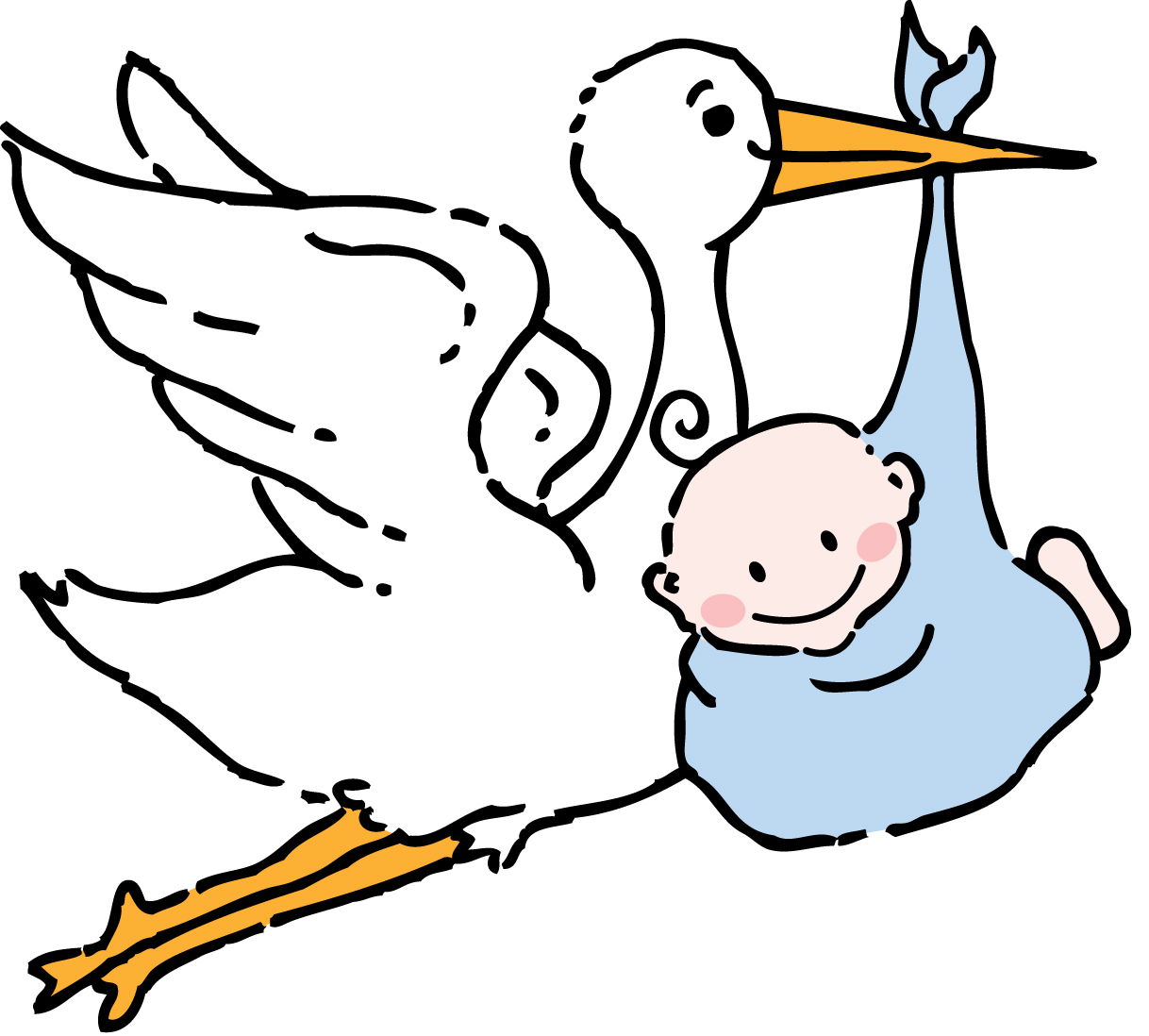 Free baby stork clipart.
