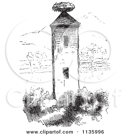 Clipart Of A Retro Vintage Stork Nest On A Tower In Black And.