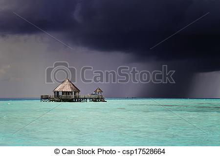 Stock Image of Dark storm approaching, Maldives.