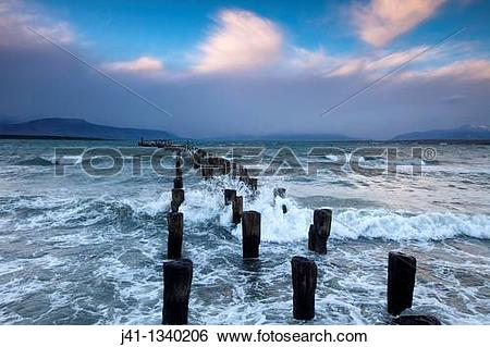 Stock Images of ?Braun & Blanchard? famous old pier, storm.