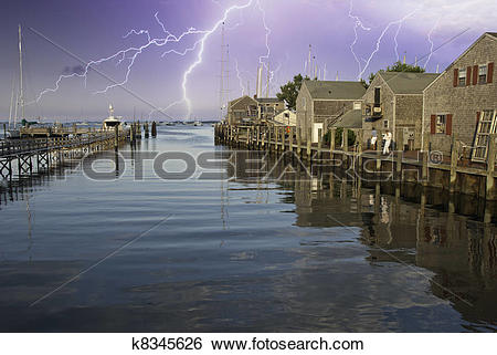 Stock Images of Storm approaching Nantucket Port k8345626.