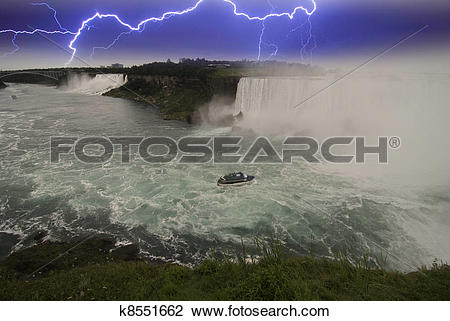 Stock Photo of Storm approaching Niagara Falls, Canada k8551662.