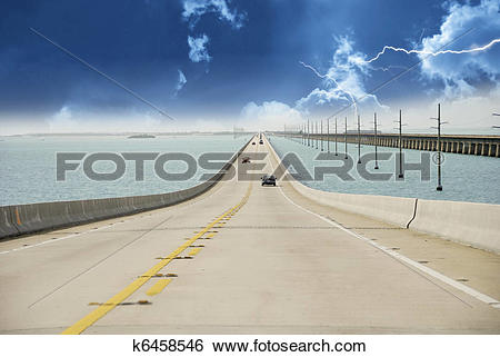 Stock Images of Storm approaching Overseas Highway k6458546.