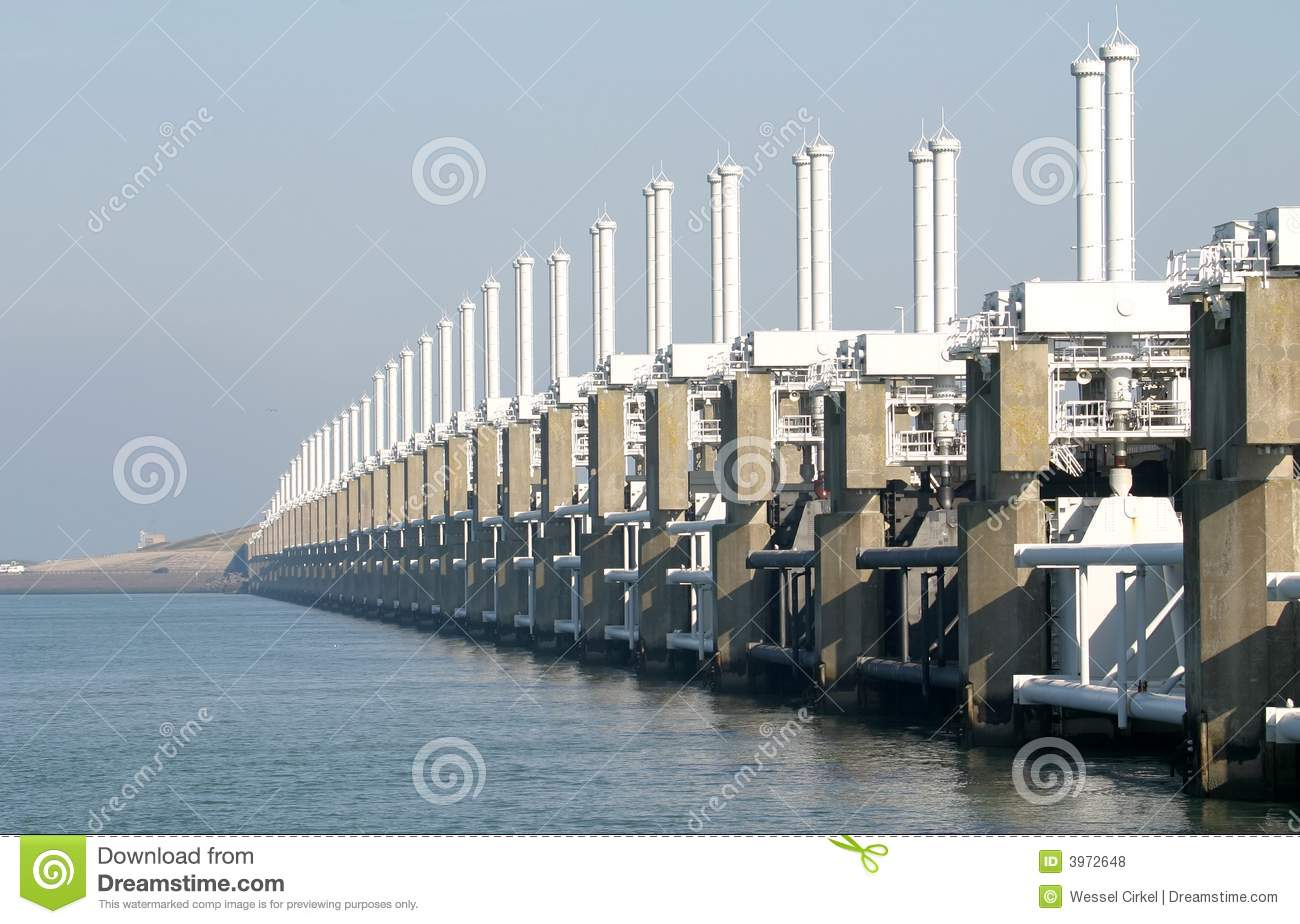 A Dutch Storm Surge Barrier Royalty Free Stock Photos.
