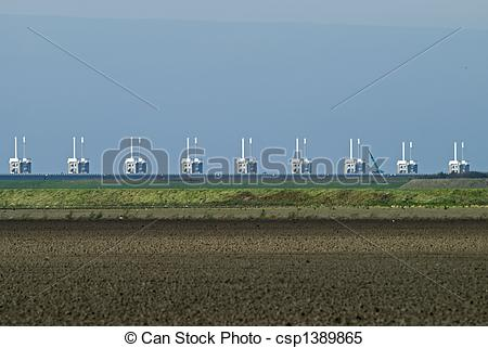 Stock Images of Storm surge barrier in Zeeland, Netherlands. Build.